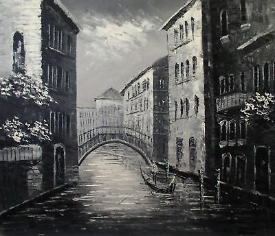 Quality Hand Painted Oil Painting Venice Waterway Black/White 20x24in