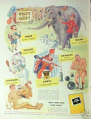 1943 Ethyl Gasoline Circus Clown,Elephant,Lion Oddball Cartoon Promo Trade AD