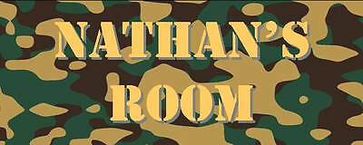Personalised Green Army Camouflage Bedroom Name Plate