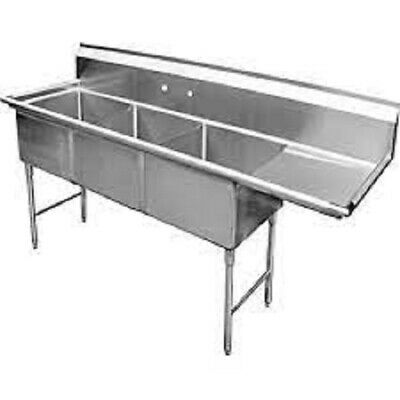 """3 Compartment Sink with 1 Right 18"""" Drain Board NSF"""