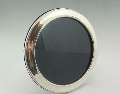 LARGE ROUND MODERN  SOLID SILVER PHOTO FRAME BROADWAY 7 inch