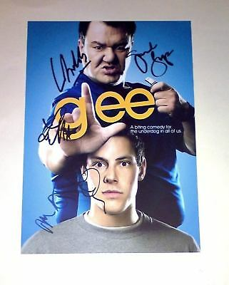 """Glee Cast X5 Pp Signed Poster 12""""x8"""" Dianna Agron"""