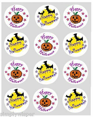 12 Happy Halloween Cupcake Decoration Edible Cake Toppers Pre Cut 40mm