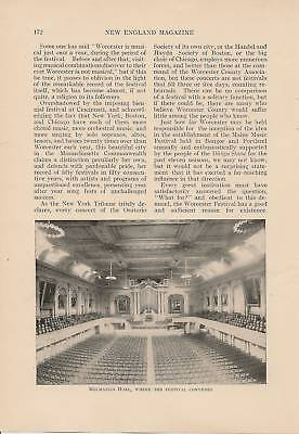 1908 Worcester County Music Festivals vintage article