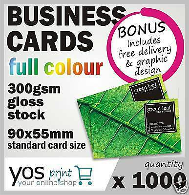 1000 BUSINESS CARDS + FREE DESIGN Full Colour Print