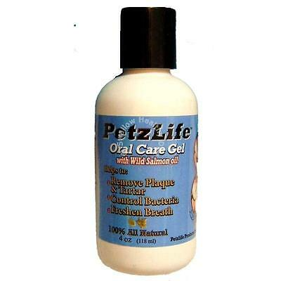 Petzlife Oral Care Gel with Salmon Oil 4oz 118ml dog cat Plaque Tartar Fresh Bre