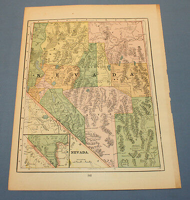 Antique Map Nevada 1898  Color 11 x 14