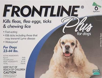 Frontline Plus for dogs 23 - 44  lb 6 month Box!