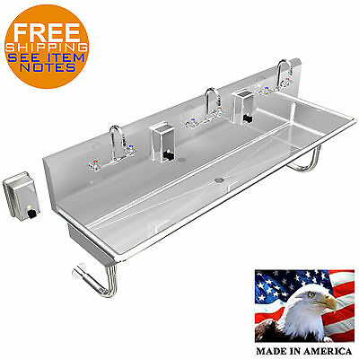 "Multi Station 3 Stainless Steel Heavy Duty 72"" Wall Mount Hand Sink Made In Usa"