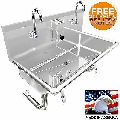 "Multi Station 2 User Hand Sink, 36"" Hands Free Lavatory"