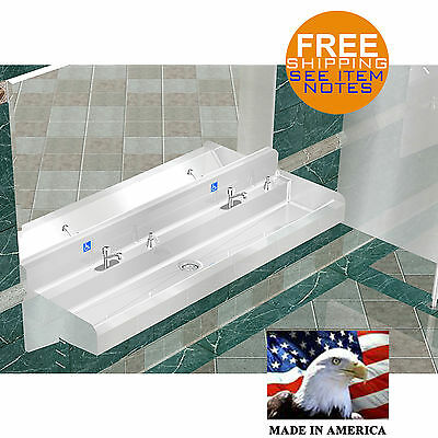 """Ada Hand Sink 2 Station 72""""  Vandal Resistant Faucet Heavy Duty Stainless Steel"""