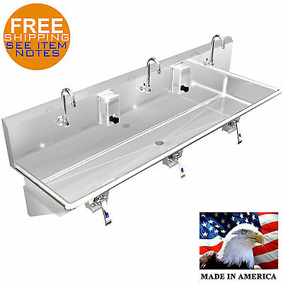 "Multi Station 3 Wash Up Hand Sink 72"" Knee Valve Stainless Steel Made In America"