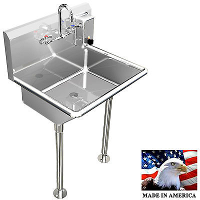 "Hand Sink Manual Faucet 24"" Single User 1 Person Heavy Duty #304 Stainless Steel"