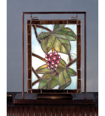 Meyda Stained Glass Mini Window Tabletop Light Window with Grapes Brass Frame