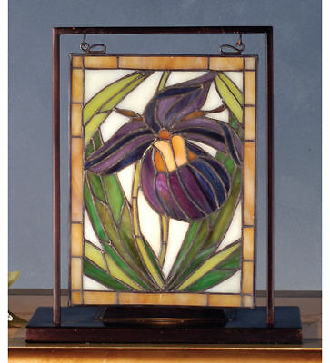 Meyda Stained Glass  with light Lady Slipper Table Top Mini Window Brass Frame