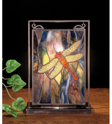 Meyda Stained Glass Mini Window with Light Table Top Dragonfly Brass Frame