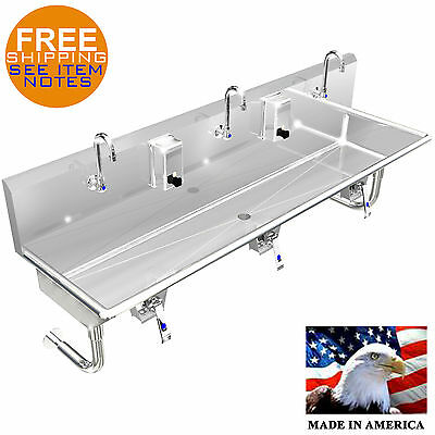 """Hand Sink 3 Person Multi User, 60"""" Hands Free, Lavatory Knee Valve Operation"""