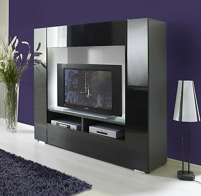 tv wand wohnwand fernsehschrank regal hochglanz schwarz. Black Bedroom Furniture Sets. Home Design Ideas