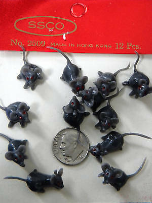 VINTAGE,COLLECTIBLE,MINI,BK PLASTIC MICE,Made-Hong Kong