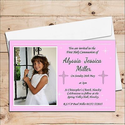 10 Personalised Girls First Holy Communion Christening Photo Invitations N20