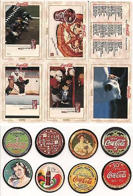 1993 Series 1 COCA COLA 100 CARD COMPLETE SET + 8 POGS