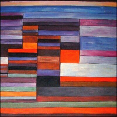 Hand Painted Oil Painting Repro Paul Klee Fire in the Evening. 1929, 36x36in
