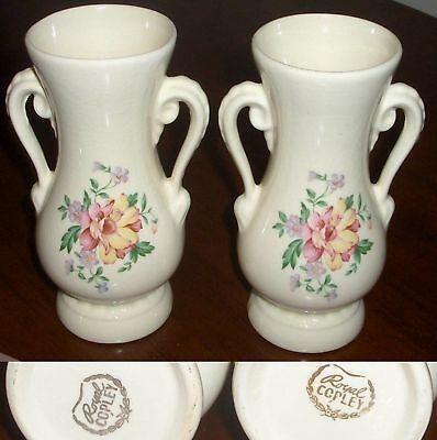 "2 Antique ROYAL COPLEY FLORAL VASE MATCHING SET 6 1/4"" TALL"