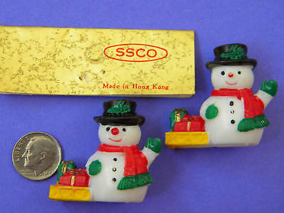 VINTAGE,COLLECTIBLE, 2 MINI, SNOWMEN, Made in Hong Kong