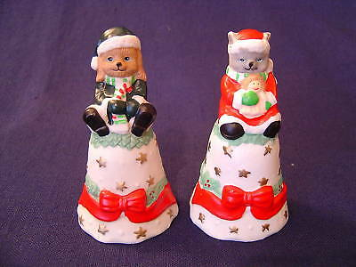 Christmas Pet Holiday Bells Ceramic Cat Dog 2 Pcs