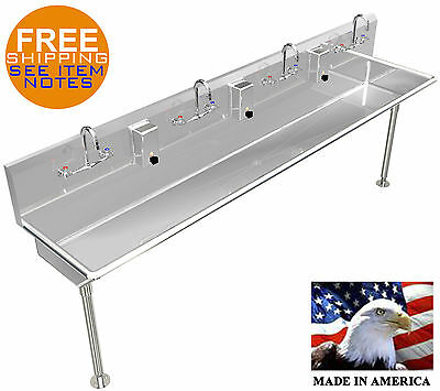 Hand Sink 4 Person Lavatory Multi User 8' Stainless S.