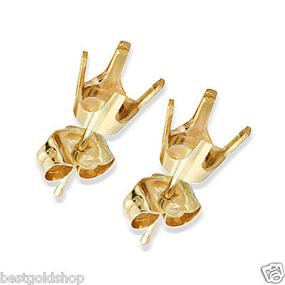 4 Prong Cup Set Stud Earrings Mounting 14K Yellow Gold