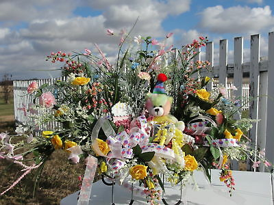 Birthday Bear Cemetery Grave Flower Arrangement Tombstone Saddle Stuffed Animal