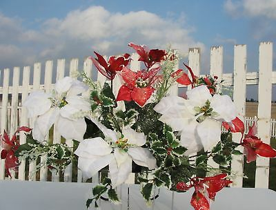 Red White Poinsettias Holly Grave Cemetery Flowers Gifts For Her Office Home
