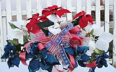 Cemetery Headstone Flowers Red White & Blue Poinsettias Patriotic Bow / Ribbons