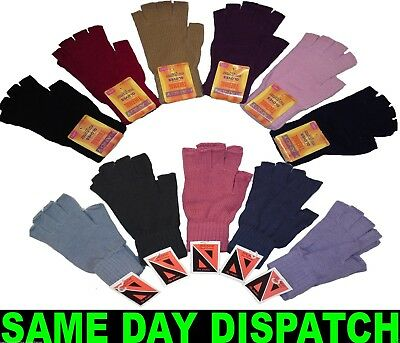 Ladies Womens Thermal Fingerless Gloves Fast same day delivery winter gloves