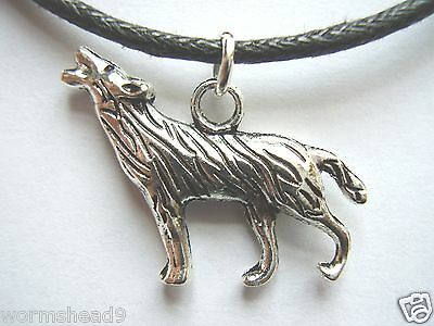 Wolf shaped dark silver coloured pendant black waxed cotton cord necklace