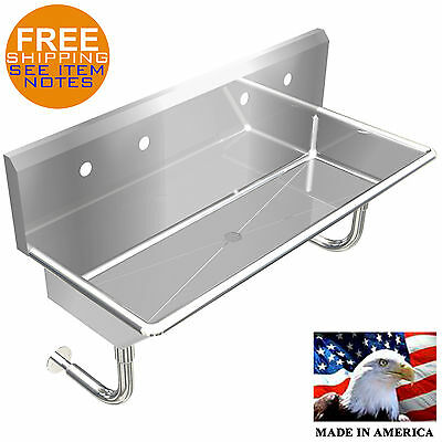 """Industrial 2 Station, Multiuser Wash Up Hand Sink 48"""" Wall Mount Stainless Steel"""