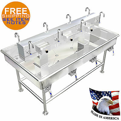 """ISLAND MULTI STATION 8 USERS WASH UP HAND SINK LAVAROTY 72""""x40"""" STAINLESS STEEL"""