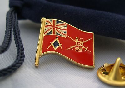 Masonic Craft Lodge British Army Armed Forces Flag Lapel Pin Plus Gift Pouch