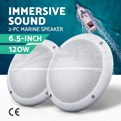 "2 x 6.5"" Inch 2-Way Outdoor Waterproof Marine Speaker 120W Pair Boat Audio"