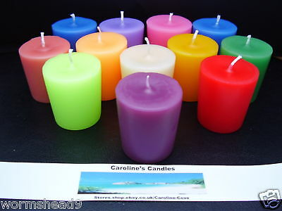 Handmade set of 3 scented aromatherapy coloured votive candles choose fragrance