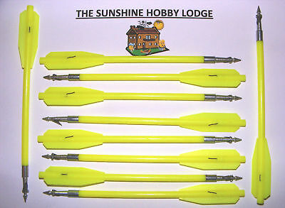 Pistol Crossbow Fishing Bolts Barbed Pistol Xbow Hunting Pack Of 10 New Yellow