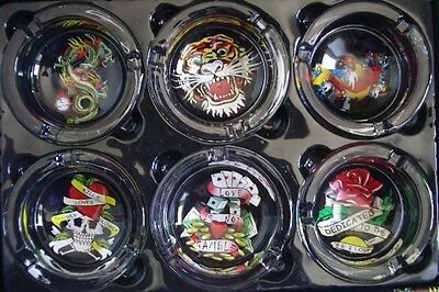 6 pcs Collector Tattoo Edition Harley Theme Style Ashtray Wholesale Display Box
