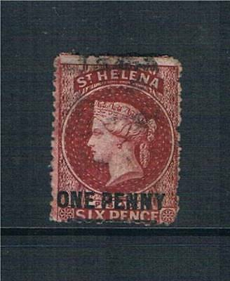St Helena 1864/80 1d Lake SG 7 USED