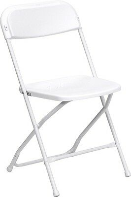 (100 PACK) 400 Lbs Capacity Commercial Quality Plastic Folding Chairs in White