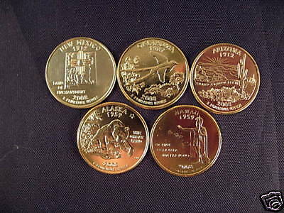 2008 Complete Set Of 24kt. Gold Plated State Quarters