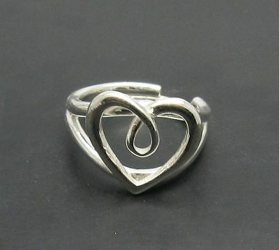 Sterling Silver Ring 925 Heart Solid Adjustable Size