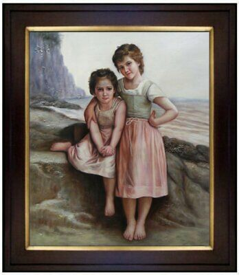 Framed Hand Painted Oil Painting Repro Bouguereau On the Rocky Beach 20x24in