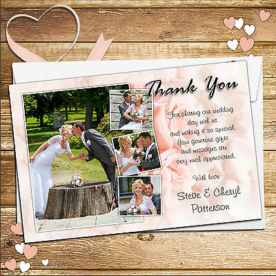 10 Personalised Wedding Thank you PHOTO cards Pink Roses N149