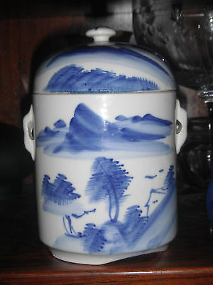 Chinese Early 20th Century Blue and White Tea Caddy
